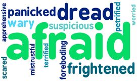 Afraid Word Cloud. On a white background Stock Photography