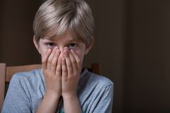 Afraid young boy Royalty Free Stock Photo