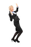 Afraid young businesswoman Royalty Free Stock Photo