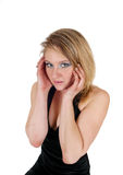 A afraid young woman. A scared young blond woman with booths hands on her head and big eyes Stock Photography