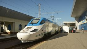 Afrasiab is a high-speed train in Uzbekistan. Tashkent, Uzbekistan - July 03, 2014: Afrasiab is a high-speed train of the Spanish company Patentes Talgo S. L Stock Photo
