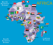 Africa. Map of Africa on blue sea Stock Photo