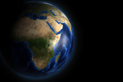 Africa. The image of the planet earth from the side of Africa Stock Image