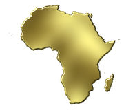 Africa 3d Golden Map. Isolated in white Royalty Free Stock Images