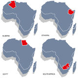 Africa 3d map. 3d  map of africa countries algeria, egypt, ethiopia and south africa Stock Photos
