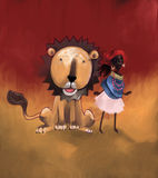 Africa. N culture, digital painting of cute girl and her friend the lion Royalty Free Stock Photo