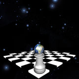 Africa. Pawn sits on chessboard Royalty Free Stock Image