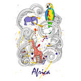 Africa abstract illustration. With elephant, giraffe and other Vector Illustration