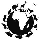 Africa animal around the world. Isolated africa animal around the world on white background Stock Photo