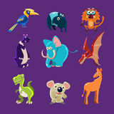 Africa Animals and Dinosaurs with Emotions, Vector Royalty Free Stock Photos