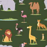 Africa animals outdoor graphic travel seamless pattern background Stock Photography