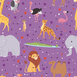 Africa animals outdoor graphic travel seamless pattern background Royalty Free Stock Image