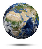 Africa and Asia. Earth globe 3d render, maps courtesy of NASA Stock Image