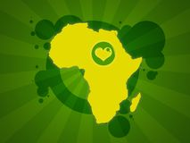 Africa background. Illustration of Africa map with a heart on it and stripes on background stock illustration