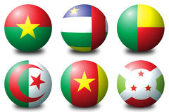 Africa balls 1. 3D spherical flags representing African countries Stock Photos