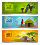 Africa Banners Set. Africa horizontal cartoon banners set with culture and traditions symbols isolated vector illustration Stock Photo