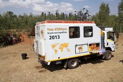 Africa bicycle race expedition. The truck of the Africa bicycle race expedition 2013 on the ethiopia road in February. The africa tour from the Cairo to Cape royalty free stock photos