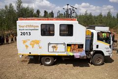 Africa bicycle race expedition. The truck of the Africa bicycle race expedition 2013 on the Ethiopia road in February. The africa tour from the Cairo to Cape Royalty Free Stock Image