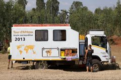 Africa bicycle race expedition. The truck of the Africa bicycle race expedition on the ethiopia road in February. The africa tour from the Cairo to Cape town, 12 royalty free stock photo