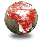 Africa on brick wall Earth Stock Photo