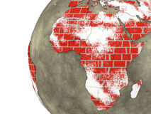 Africa on brick wall Earth Stock Image