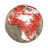 Africa on brick wall Earth Royalty Free Stock Photography