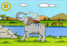 Africa Cartoon - Elephant splashing water Stock Images
