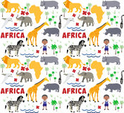 Africa cartoon pattern Stock Photos