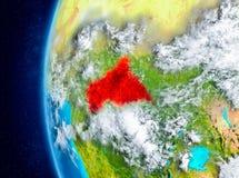 Africa centrale su terra da spazio Fotografia Stock Libera da Diritti
