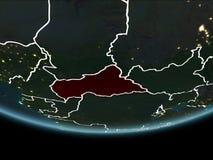 Africa centrale su terra da spazio alla notte Immagini Stock Libere da Diritti