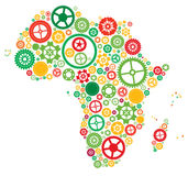 Africa of Cogs and Gears. Abstract Vector illustration of the African Continent made from industrial cogs and gears Royalty Free Stock Photos