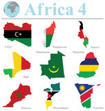Africa Collection 4. Flags of Africa collection 4 overlaid on outline map isolated on white background Stock Photos