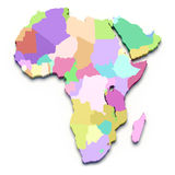 Africa color map. On white isolated Royalty Free Stock Image