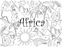 Africa coloring book vector illustration Royalty Free Stock Photo