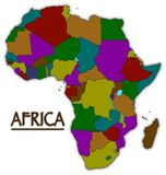 Africa Colourful Countries Map. An Africa map with all countries in colour isolated on a white background Stock Images