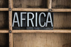Africa Concept Metal Letterpress Word in Drawer Stock Photo