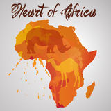 Africa continent with color splash Stock Photo