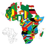 Africa Continent Flag Map Stock Photo