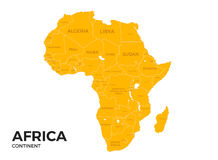 Africa continent Location Map. Africa continent location modern detailed vector map. All world countries without names. Vector template of beautiful flat stock illustration