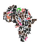 Africa continent made of  shoes Stock Image