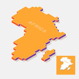 Africa continent map element with 3D isometric shape isolated on background Stock Photography