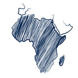 Africa continent. Map hand drawn background vector,illustration royalty free illustration