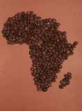 Africa continent map made of coffee beans Royalty Free Stock Photos