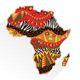 Africa Continent Ornate With Ethnic Pattern. Design element with bright tribal and wild animals skin patterns at abstract Africa continent silhouette Stock Images