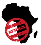 Africa continent passport stamp. Red passport stamp on black outline of African continent, isolated on white background Royalty Free Stock Photo