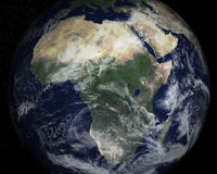 Africa Continent Satellite Space View. The continent of Africa with a satellite space view. Nice image of the world we call planet Earth Royalty Free Stock Photo