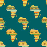 Africa continent seamless pattern vector illustration. Diversity colors tribal ethnic bands Africa over white background. Textured vector map continent Royalty Free Stock Photography