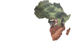 Africa continent shape with blurred people walking