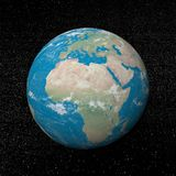 Africa continent and stars - 3D render. Earth planet showing african continent in the universe surrounded with plenty of stars Royalty Free Stock Photography