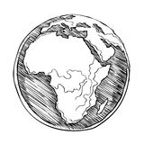 Africa continent  on white background. Globe outline drawing. Africa continent. Vector illustration  of sketchy  on white background Royalty Free Stock Image